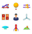 piloting icons set cartoon style vector image vector image