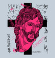 risen christ sculpture crazy pink calligraphy vector image