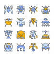 robot transformer line icon set editable stroke vector image
