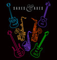saxes and axes in neon colors on black vector image vector image