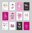 set of doodle valentine day greeting cards design vector image