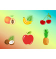 set of fruits whole and pieces - bananas vector image