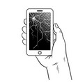 smart phone and broken screen coloring vector image vector image