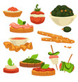 tasty nutritious snack with vegetables and sauces vector image vector image