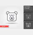 the head bear line icon with shadow and vector image