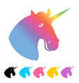 Unicorn icon flat style Magical beast with horn in vector image vector image