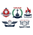 Volleyball game sporting heraldic emblems vector image vector image