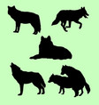 wolves wild animal silhouette vector image