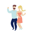 young dancing tiny stylish people vector image vector image