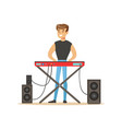 young man playing electric piano vector image