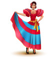 young mexican woman in red dress solo dancing vector image vector image