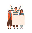 young people holding blank placard flat vector image