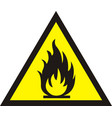 fire warning sign on white background vector image