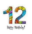 12th anniversary celebration greeting card vector image vector image