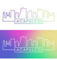 acapulco city skyline colorful linear style vector image vector image