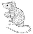 adult coloring bookpage a cute rat with heart in vector image vector image