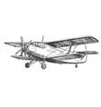 airplane vintage hand drawn vector image