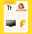 alphabet tracing worksheet with letter t and t vector image vector image