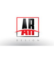 ar a r logo letters with red and black colors and vector image vector image