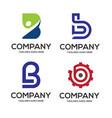 b letter logo design logo set vector image
