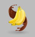 banana in chocolate splash realistic fruit vector image vector image