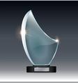 blank tall glass trophy mockup empty acrylic vector image vector image