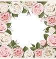blossom pink and white rose flowers frame vector image vector image