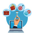 businessman hand in laptop screen with business vector image