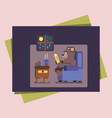 cartoon brown bear at home reading book vector image vector image