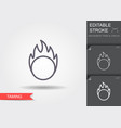 circus ring fire line icon with shadow vector image