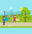 city park with benche lantern and people resting vector image vector image