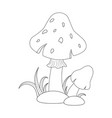 colorless funny cartoon red mushrooms with grass vector image vector image
