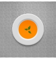 Cream soup in pumpkin design background vector image vector image