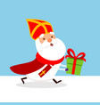 cute saint nicholas with gift vector image vector image