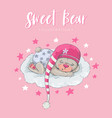 cute sleeping bear vector image vector image