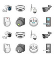 design of cctv and camera symbol set of vector image
