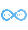 Devops logotype sign of infinity with arrows blue