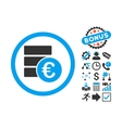 Euro Money Database Flat Icon with Bonus vector image vector image