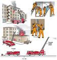 Fire rescue scenarios vector image vector image
