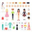 flat set of figure pretty girl vector image vector image