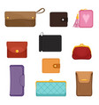 flat set of stylish wallets pocket-sized vector image