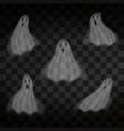 halloween ghosts on transparent background flying vector image vector image
