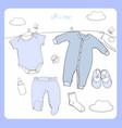 hand drawn baby clothes flat lay vector image vector image
