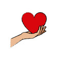 hand holding heart blood donation vector image vector image