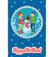 Happy couple of young people sculpts snowman vector image vector image