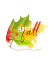 happy fall quote realistic style maple leaf vector image