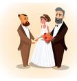 happy groom bride and father vector image vector image