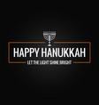 happy hanukkah sign logo on black background vector image vector image