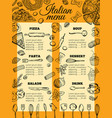 italian food menu different pasta and pizza vector image vector image