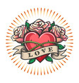 love theme tattoo with heart and rose flowers vector image vector image